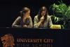 Catherine Hoff and Della Cox, freshmen, compete in the Biotech Debates.