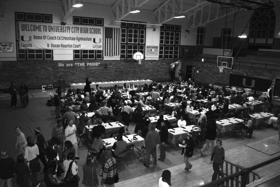 The gym transforms into a banquet hall for student athletes and their parents during the fall sports banquet.