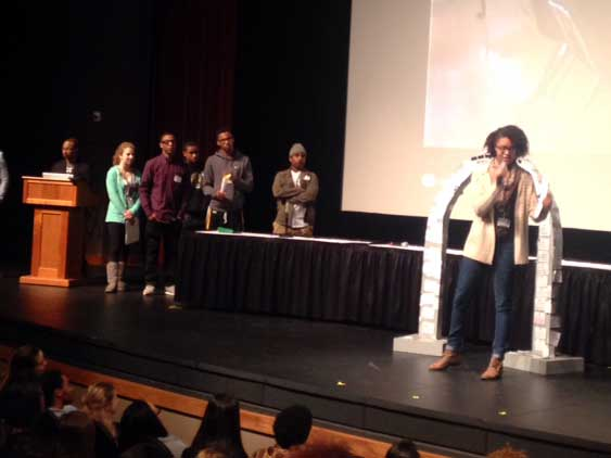 Raven Bullard, sophomore, speaks about U. City's progress at the second meeting of the Student Summit on Race Feb. 25.