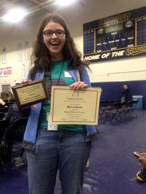 Christine Politte, junior and Web Editor of utimesonline.com, excitedly displays her All Missouri award at the SSP Journalism Conference.