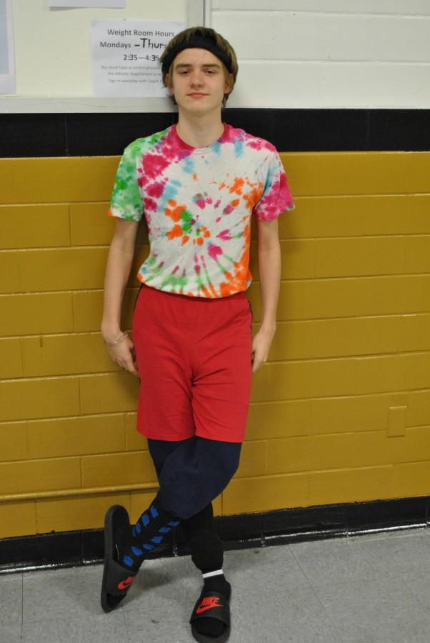 Zachary Clark, junior, participates in Crazy Hair, Sock and Bowtie Day.
