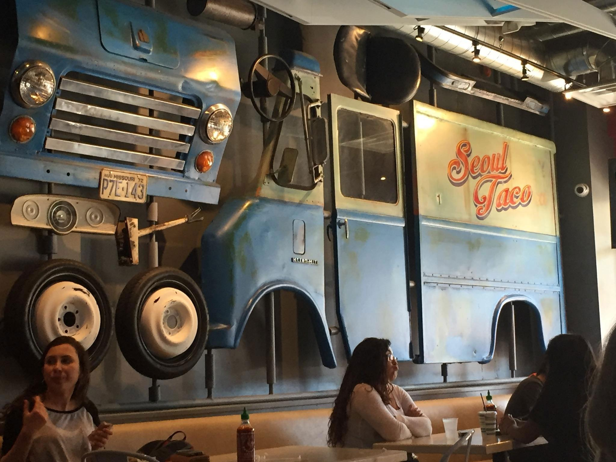 Seoul Taco began as a taco truck which was dismantled and now hangs on the wall in the restaurant. They now have another food truck and a brick and mortar restaurant in Columbia, MO.