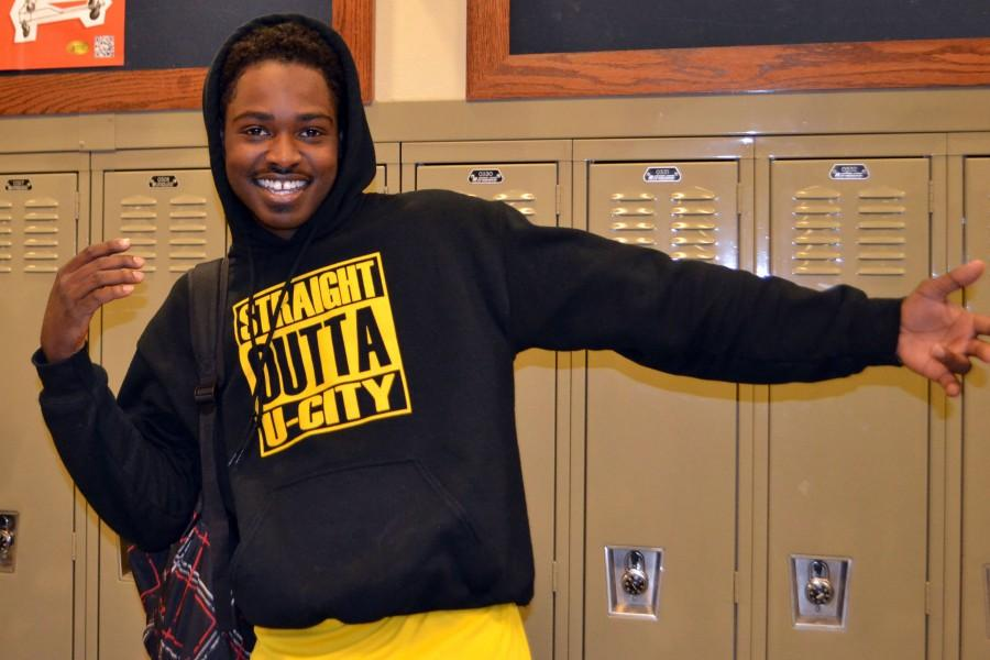 """Thompson Brown, senior, reps his """"Straight Outta U City"""" hoodie on Oct. 30 in the hallway. """"The theme of the shirts was a great idea since 'Straight Outta Compton' was a popular movie this year,"""" said Brown."""