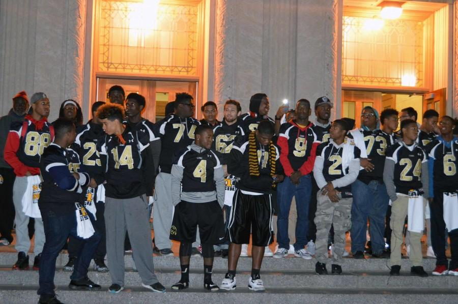 Nov. 13. The football team gathers with the community of University City, to celebrate the Quarter Finals. They will be playing against Westminster.