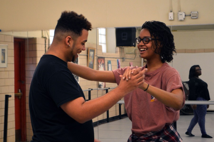 In+the+dance+studio%2C+male+lead+Joshua+Mayfield%2C+senior%2C+learns+the+waltz+for+the+song+%22She%27s+in+Love%22+from+Raven+Bullard%2C+junior+and+female+lead