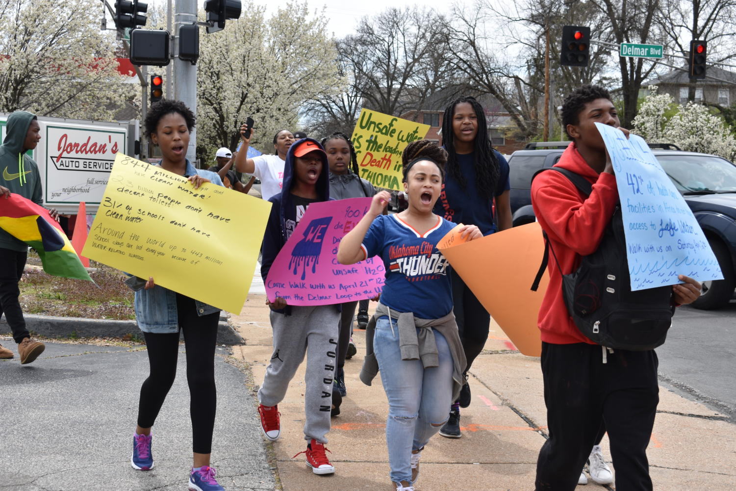 Students march in