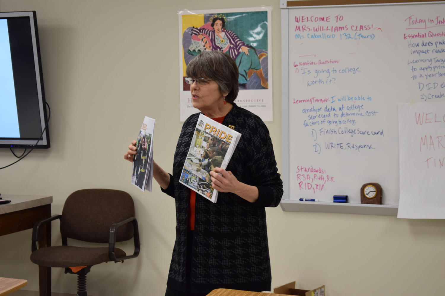 Mary Beth Tinker, free speech activist and U. City alum, speaks to students about their rights.