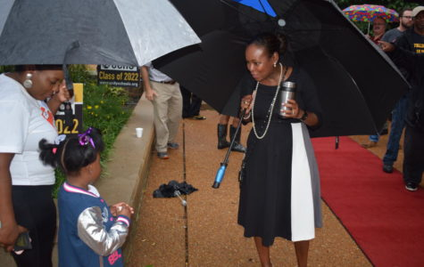 Dr. Sharonica Hardin-Bartley greets incoming U. City kindergartner