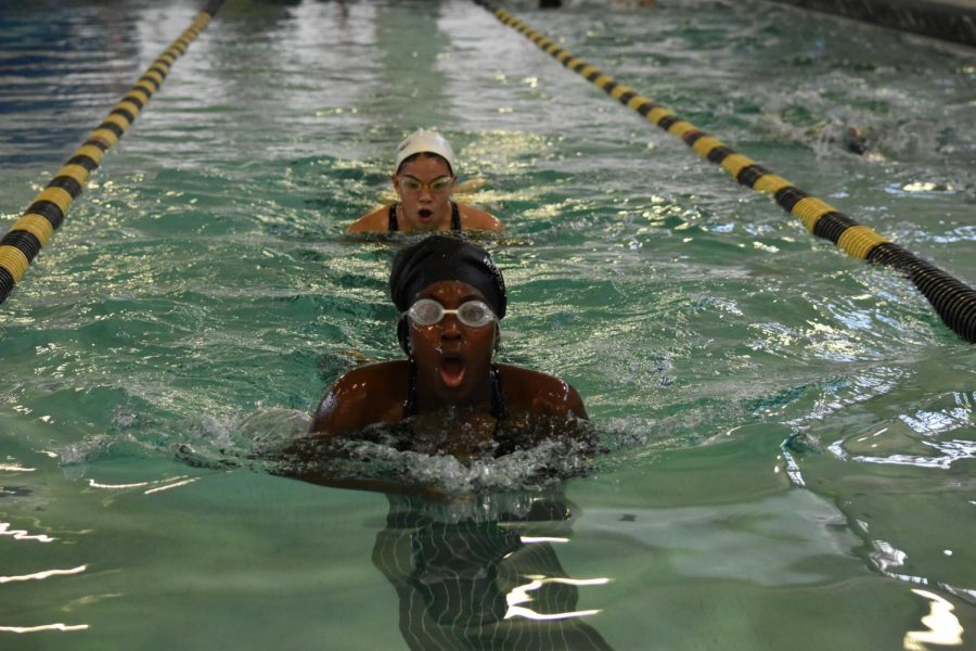 "At swim practice, Chloe Easter and Nicole Kellogg, seniors, finish a lap of breast stroke.""When I'm swimming, I think of the most random things like old TV show clips, what I want for dinner or what's the person next to me doing,"" Easter said."