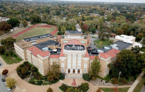 One of the aerial photos of the school building that Emmet Feld and Charlie Whitehead took as the pilot and spotter of the drone.