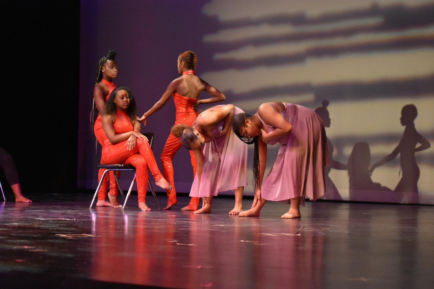 "Students in Advanced and Intermediate Dance classes portray different historical aspects of female African Americans to music by Nina Simone and Arlissa. ""[The performance] was about how black women had to show themselves off to get money,"" Makaila Ford, junior, said."