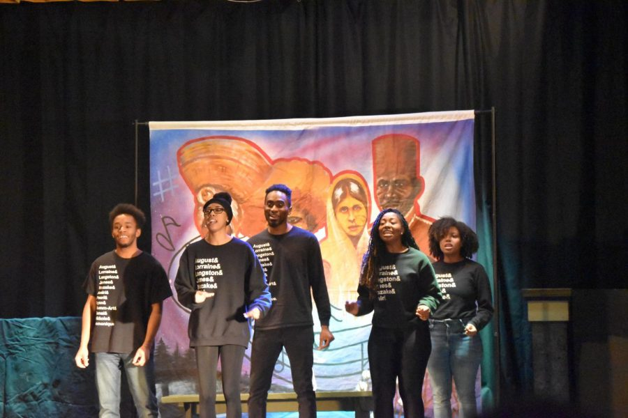 Actors from the Black Rep, an African American theatre group, preform for students in the little theatre on February 19th.