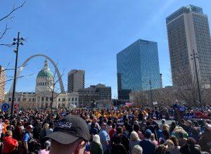 Joe Biden speaks at a rally in downtown St. Louis on March 7.