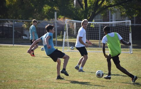 The boys soccer team seen here at one of their first scrimmages of the season.