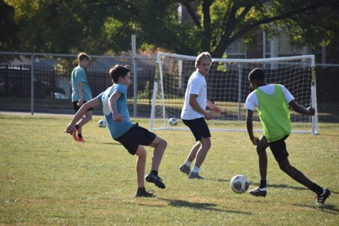 "The boys soccer team seen here at one of their first scrimmages of the season. ""I was very excited to be able to play again because all we"